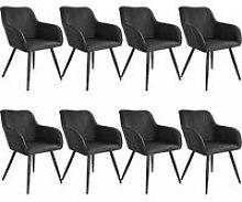 Tectake - 8x Accent Chair Marylin - black