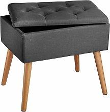 Tectake - Bench Ranya upholstered linen look with