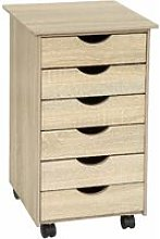 Tectake - Filing cabinet on wheels with 6 drawers