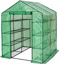 Tectake - Greenhouse with tarpaulin and shelving -