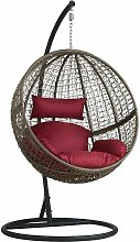 Tectake - Hanging chair with round frame rattan -