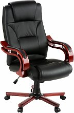 Tectake - Office chair with real wood armrests -