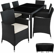 Tectake - Rattan garden furniture set Lissabon 6+1