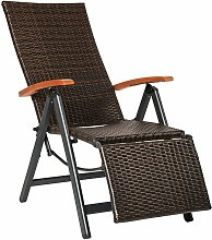 Tectake - Reclining garden chair with footrest -