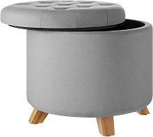 Tectake - Stool Suna in linen look with storage