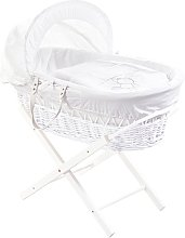 Teddy Wash White Wicker Moses Basket with Stand