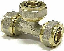 Tee PEX-AL-PEX 16 mm x 16 mm x 16 mm Brass