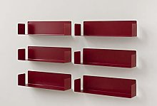 TEEbooks - Set of 6 Wall Shelves - STEEL - RED -