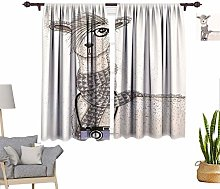 Teen Room Decor Window Curtains, Hipster Lama