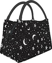 Teery-YY Lunch Bag Black White Moon and Star Tote
