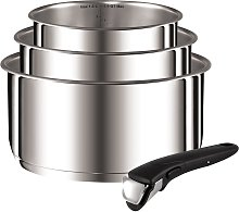 Tefal 4 Piece Stainless Steel Ingenio Saucepans