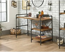 Teknik Office Iron Foundry Desk with Checked Oak