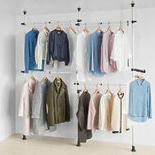 Telescopic Wardrobe Organiser Hanging Rail Clothes