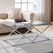 Tempered Glass Coffee Table with Stainless Steel