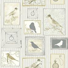 Tempus Yellow Wallpaper Cream White Birds Frames