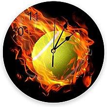 Tennis Ball PVC Wall Clock, Silent Non-Ticking