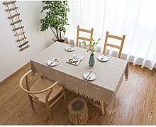 Tenrany Home Cotton Linen Table Cloth with Tassel