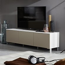 Terence Modern TV Stand In White With Sand Fronts
