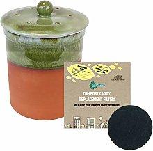 Terracotta Ceramic Kitchen Compost Caddy (Bramley