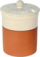 Terracotta Ceramic Kitchen Compost Caddy (Cream