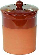 Terracotta Ceramic Kitchen Compost Caddy (Red