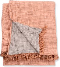 Terracotta Crinkle Cotton Throw Blanket - Small /