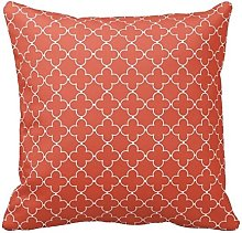 Terracotta Red and White Decorative Cushion Covers