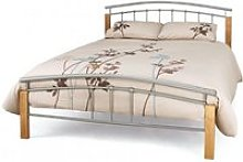 Tertas Metal King Size Bed In Silver With Beech