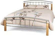 Tetras Metal Small Double Bed In Silver With Beech