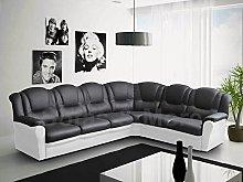 Texas Big Corner Sofa Suite - Black and White Faux