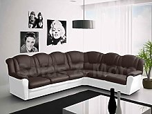 Texas Big Corner Sofa Suite - Brown and White Faux