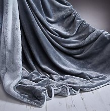 TEXTILE ARENA SILVER RABBIT FAUX FUR THROW SUPER
