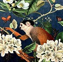 Textile London Tropical Botanical Blue Printed