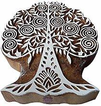 Textile Print Stamp Large Modern Art Tree Shape