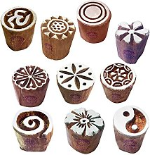 Textile Wood Blocks Handmade Small Round Shape