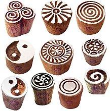 Textile Wood Blocks Original Small Round Shape