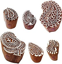 Textile Wooden Blocks Abstract Paisley Design