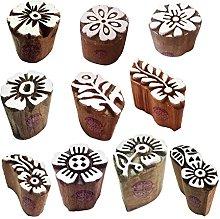 Textile Wooden Blocks Exquisite Small Round Design