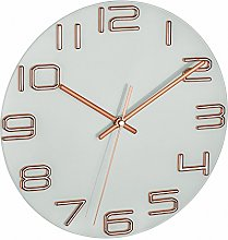 TFA Dostmann Clock, White, Copper, with Battery,