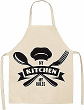 TGBN 1 Pcs Kitchen Aprons Geometric Letter Cotton