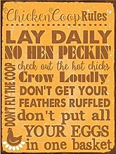 TGDB Chicken Coop Rules Metal Sign Size 8x12 inch