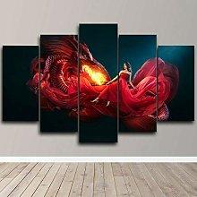 TGVFD Wall Art Canvas Picture 5 Pieces,Premium