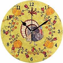 Thanksgiving Day Theme Wall Clock, Silent Non