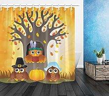 Thanksgiving Owls Theme Bathroom Shower Curtain
