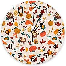 Thanksgiving Pumpkin Maple Leaf Turkey Wall Clock