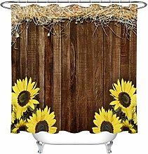 Thanksgiving Rustic Wood Planks Hay Sunflower