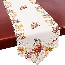 Thanksgiving Table Runner, Holiday Embroidered