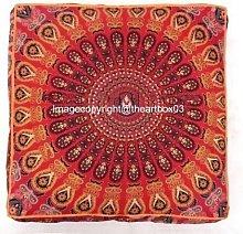 THE ART BOX Square Pouf Cover Indian Mandala Floor