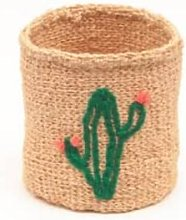 The Basket Room - Cactus Green Embroidered Woven