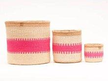 The Basket Room - Kuzuia Fluoro Pink Natural Woven